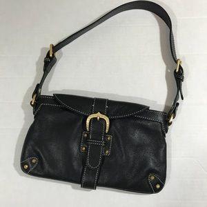 Dooney and Bourke black leather belted handbag